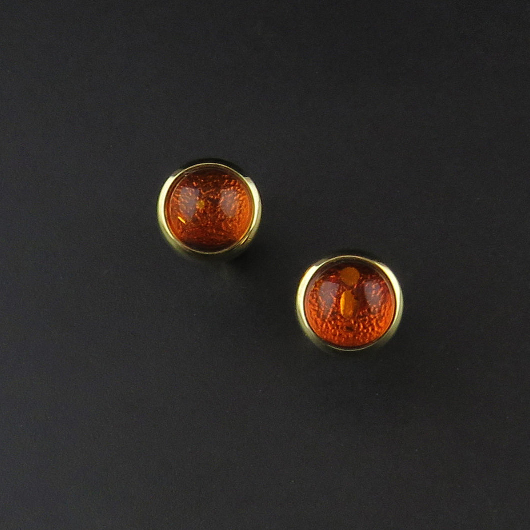 Gold Amber Stud Earrings