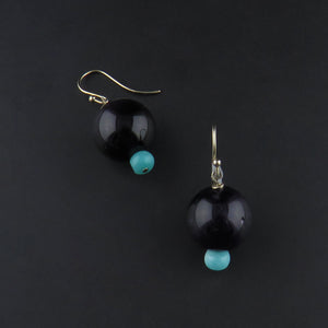 Amethyst Ball and Amazonite Drop Earrings