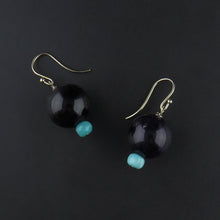 Load image into Gallery viewer, Amethyst Ball and Amazonite Drop Earrings
