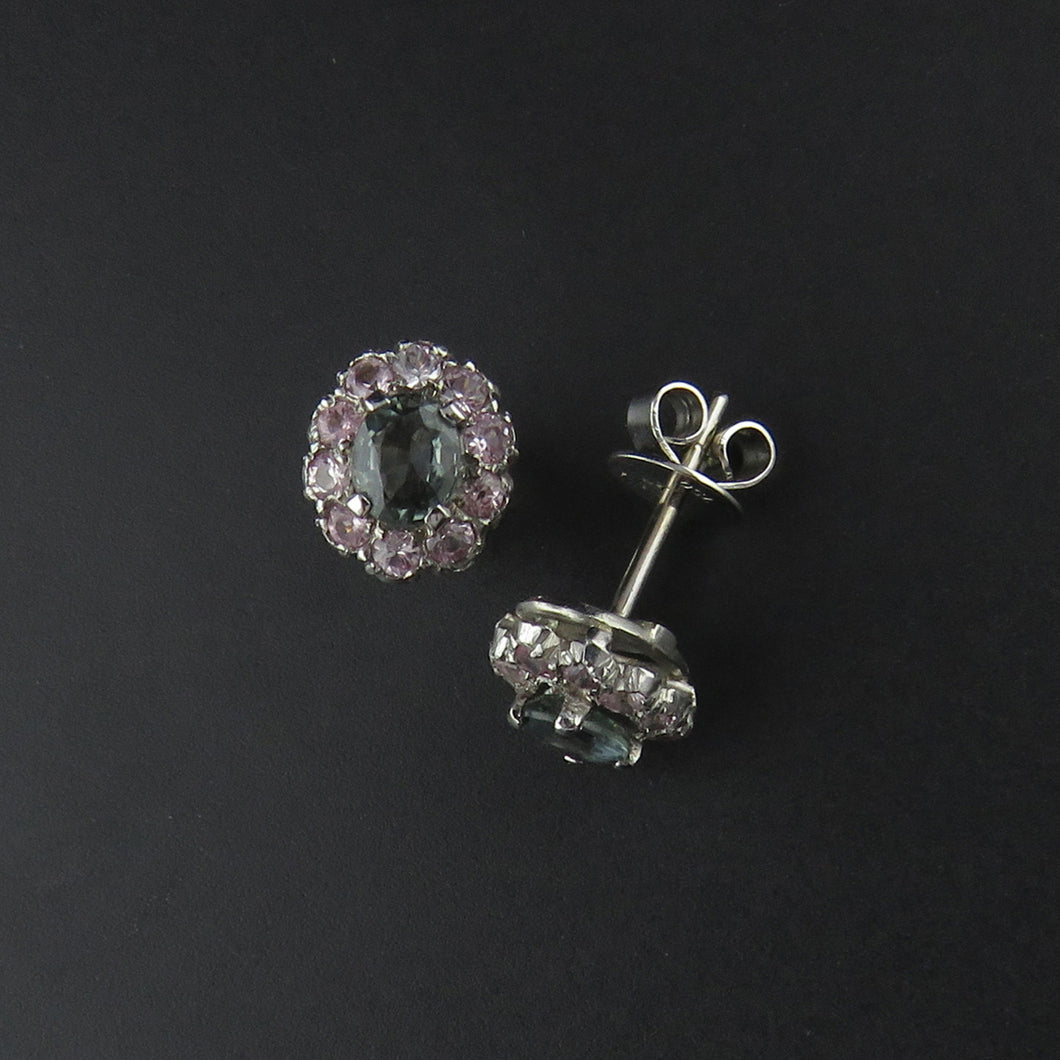Blue/Green Sapphire and Pink Sapphire Cluster Earrings