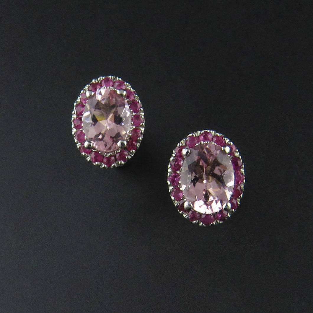 Morganite and Pink Sapphire Earrings