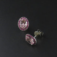 Load image into Gallery viewer, Morganite and Pink Sapphire Earrings