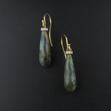 Load image into Gallery viewer, Labradorite and Diamond Drop Earrings