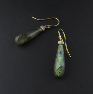 Labradorite and Diamond Drop Earrings