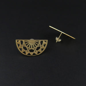Pierced Fan Stud Earrings