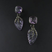Load image into Gallery viewer, Amethyst and Diamond Leaf Earrings