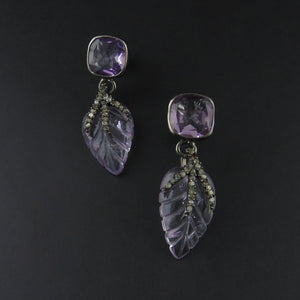 Amethyst and Diamond Leaf Earrings