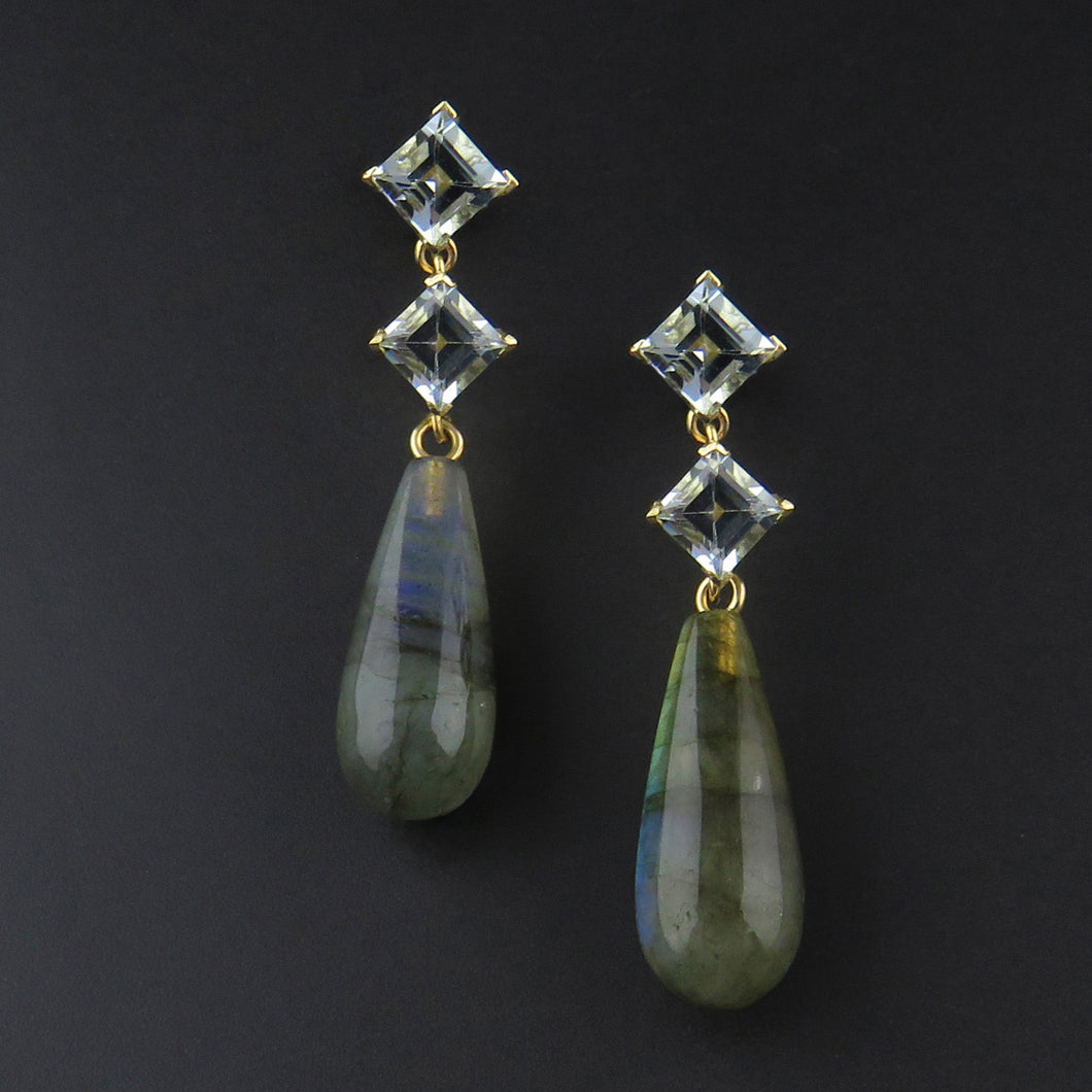 Aquamarine and Labradorite Drop Earrings