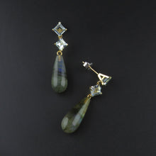 Load image into Gallery viewer, Aquamarine and Labradorite Drop Earrings
