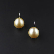 Load image into Gallery viewer, Gold South Sea Pearl Drop Earrings