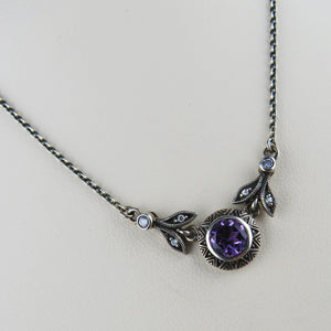 Amethyst and Cubic Zirconia Necklace