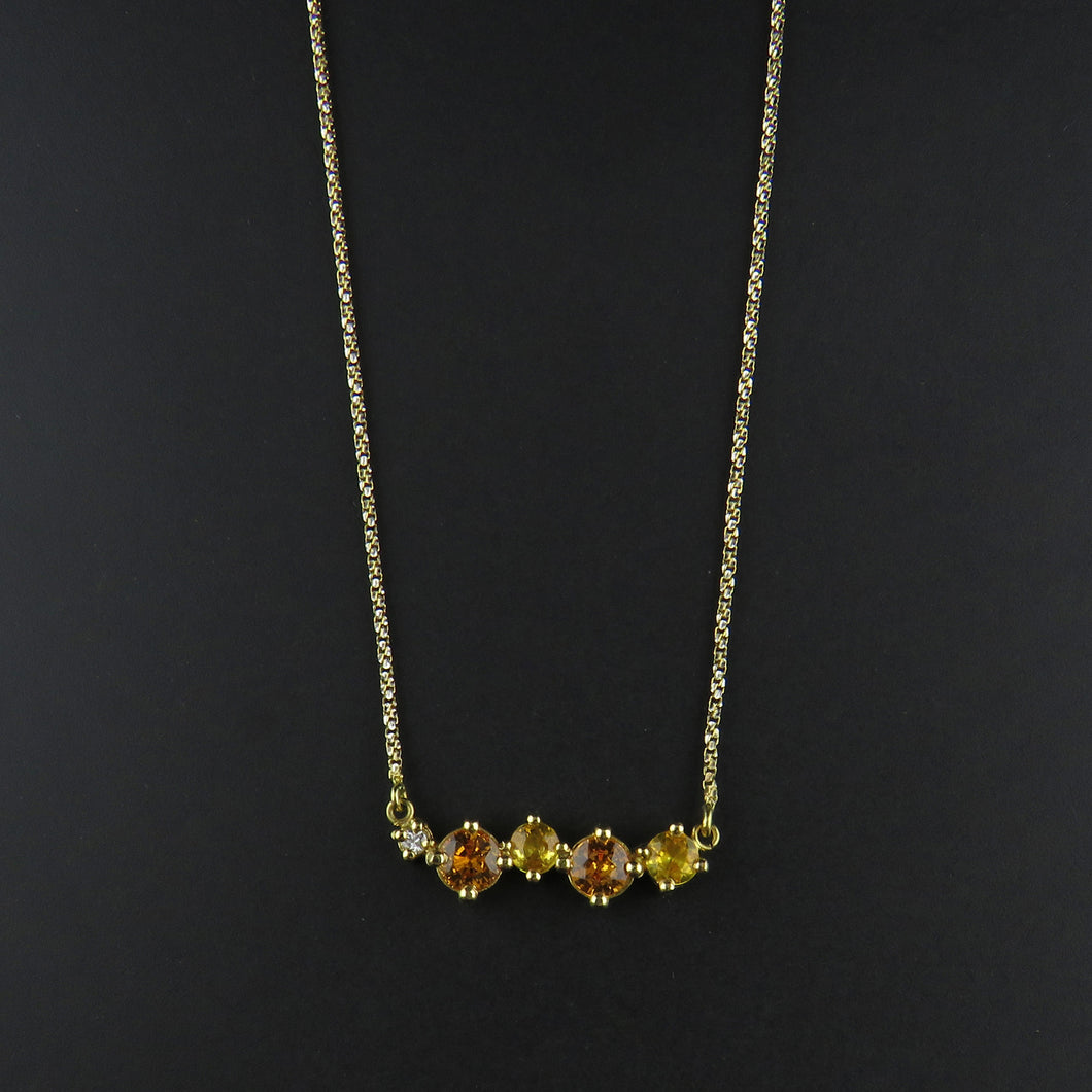 Yellow/Orange Sapphire and Diamond Necklace