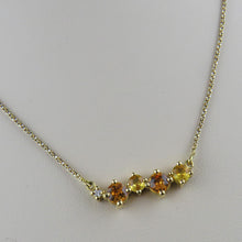 Load image into Gallery viewer, Yellow/Orange Sapphire and Diamond Necklace