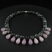 Load image into Gallery viewer, Rutilated Quartz and Kunzite Drop Bead Necklace