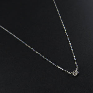 Square Diamond Cluster Necklace