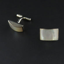 Load image into Gallery viewer, Curved Rectangle Mother of Pearl Cufflinks