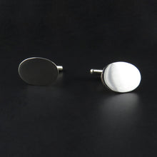Load image into Gallery viewer, Silver Oval Cufflinks