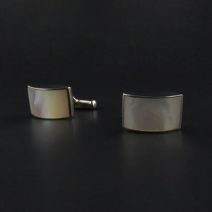 Curved Rectangle Mother of Pearl Cufflinks