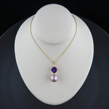 Load image into Gallery viewer, Amethyst and Pearl Pendant