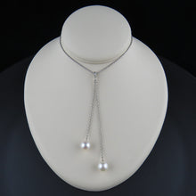 Load image into Gallery viewer, Twin Drop Pearl and Diamond Pendant