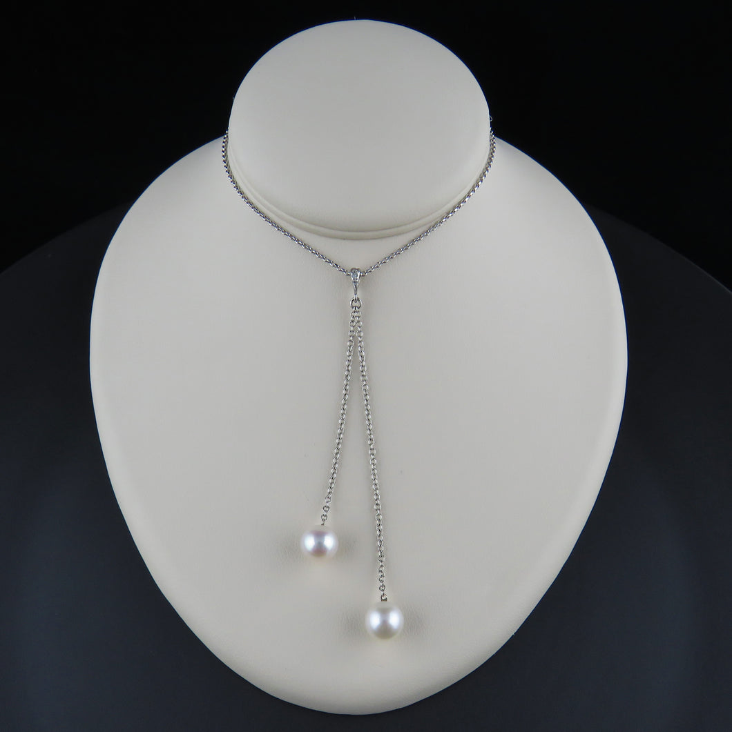 Twin Drop Pearl and Diamond Pendant