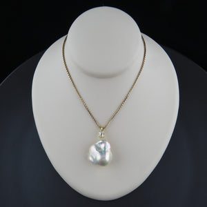 Fresh Water Baroque Pearl and Diamond Pendant