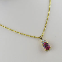 Load image into Gallery viewer, Diamond and Pink Tourmaline Pendant