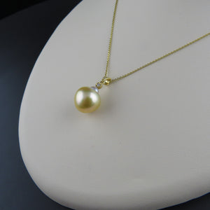 Diamond and Golden South Sea Pearl Pendant
