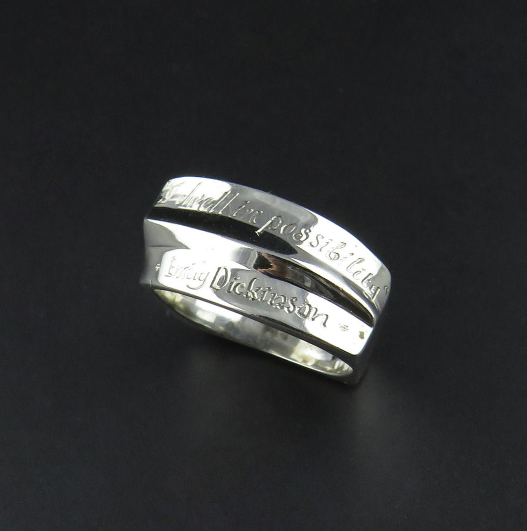 Silver Scripted Ring