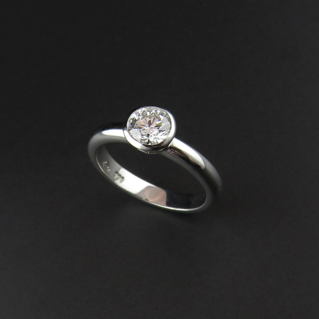 Rub-over Solitaire Diamond Ring
