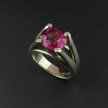 Load image into Gallery viewer, Pink Tourmaline and Diamond Dress Ring