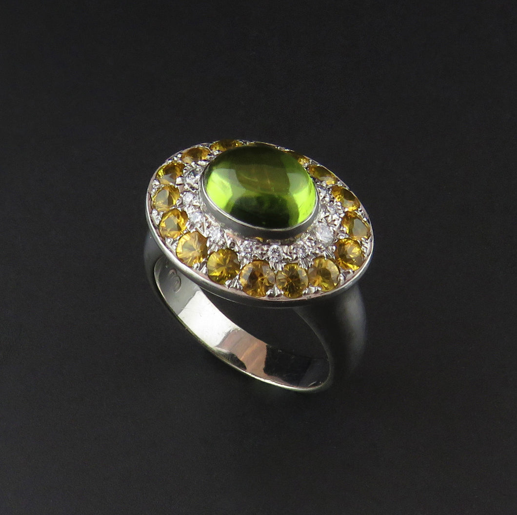 Peridot, Yellow Sapphire and Diamond Ring