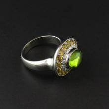 Load image into Gallery viewer, Peridot, Yellow Sapphire and Diamond Ring