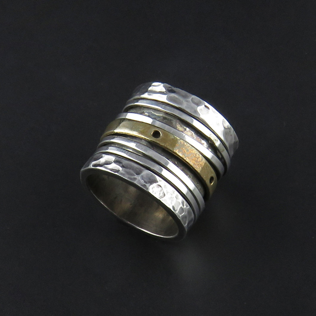 Wide Layered Textured Ring