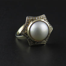 Load image into Gallery viewer, Mabe Pearl and Diamond Ring