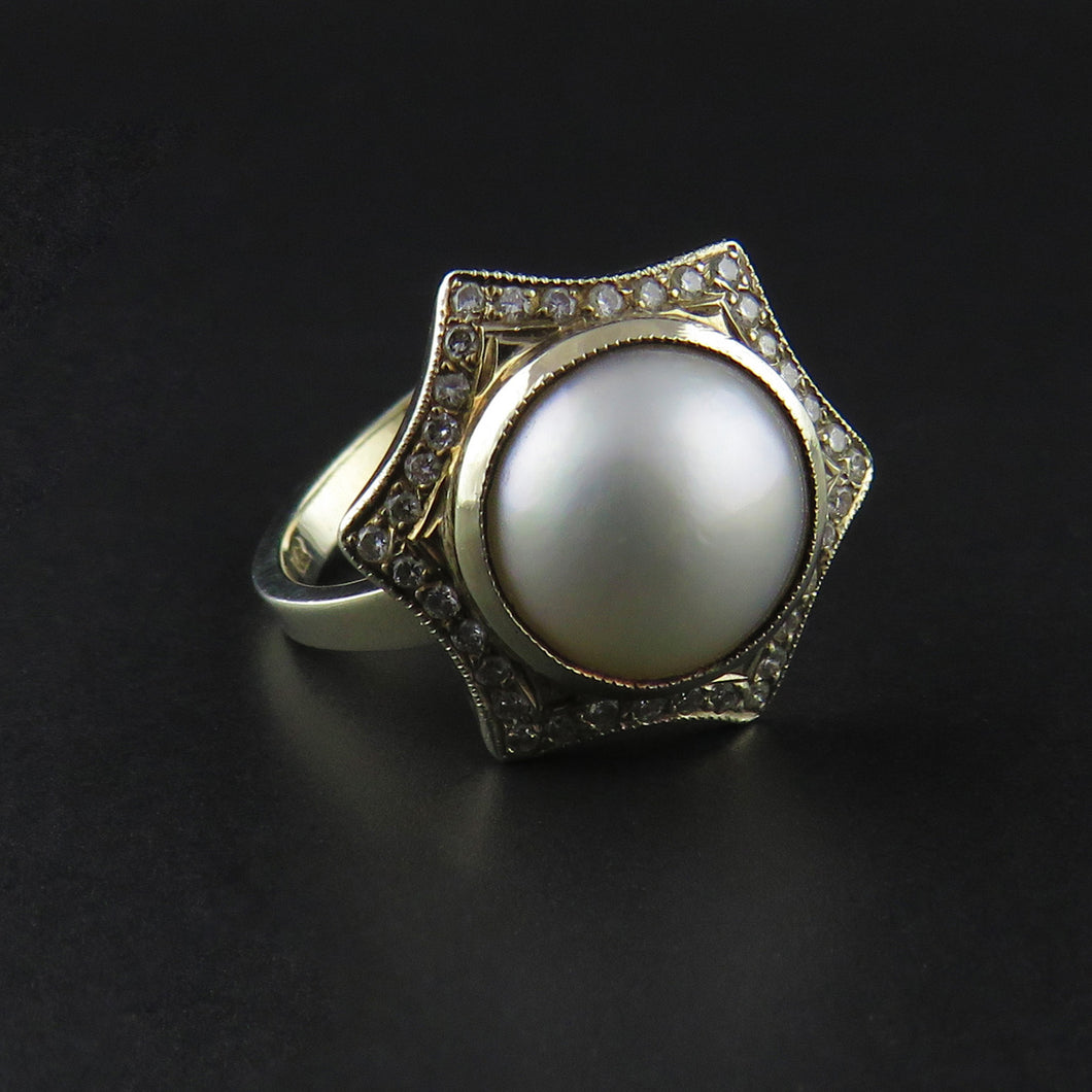 Mabe Pearl and Diamond Ring