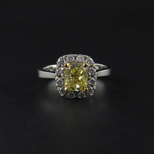 Load image into Gallery viewer, Yellow Diamond Cluster Ring