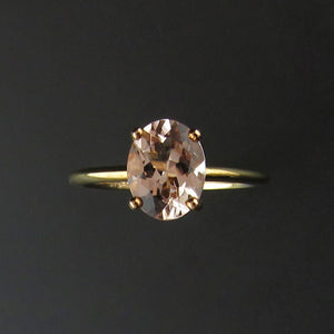 Oval Morganite Solitaire Ring