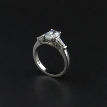 Load image into Gallery viewer, Three Stone Baguette and Emerald Cut Ring