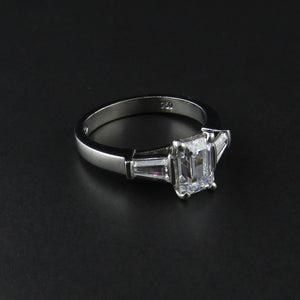 Three Stone Baguette and Emerald Cut Ring