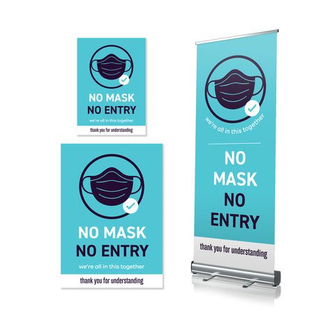 No Mask No Entry - Pull Up Banner & Posters