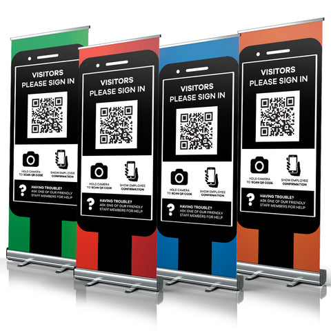 Phone Visitor Sign In QR code - Pull Up Banners