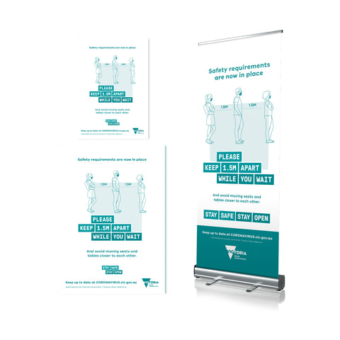 Please Stand 1.5M Apart - Pull Up Banner & Poster