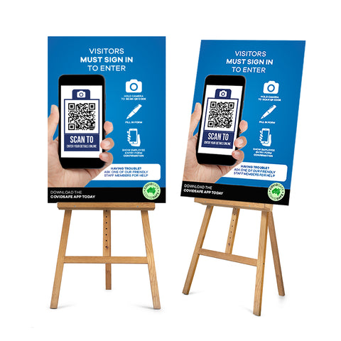 QR Code Visitor Entry A1 Corflute Sign & Easel