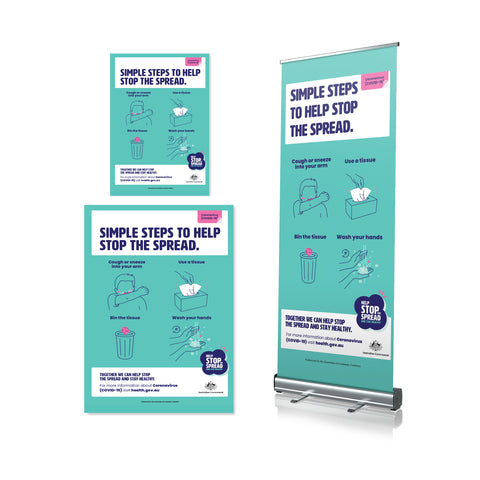 Simple Steps To Stop The Spread - Pull Up Banner & Posters