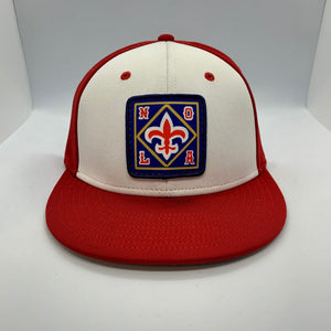 NOLA Pelicans Fitted Flatbill Hat Red White