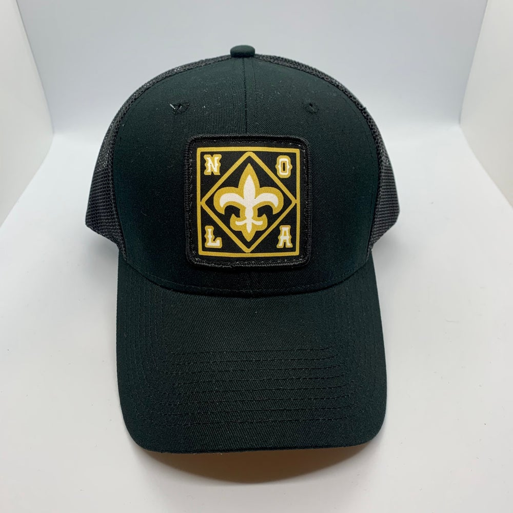 New Orleans Saints Mid Profile Trucker Hat Black