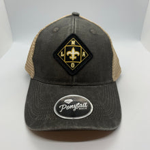 Load image into Gallery viewer, New Orleans Saints Low Profile Structured Ponytail Hat Black/Tan
