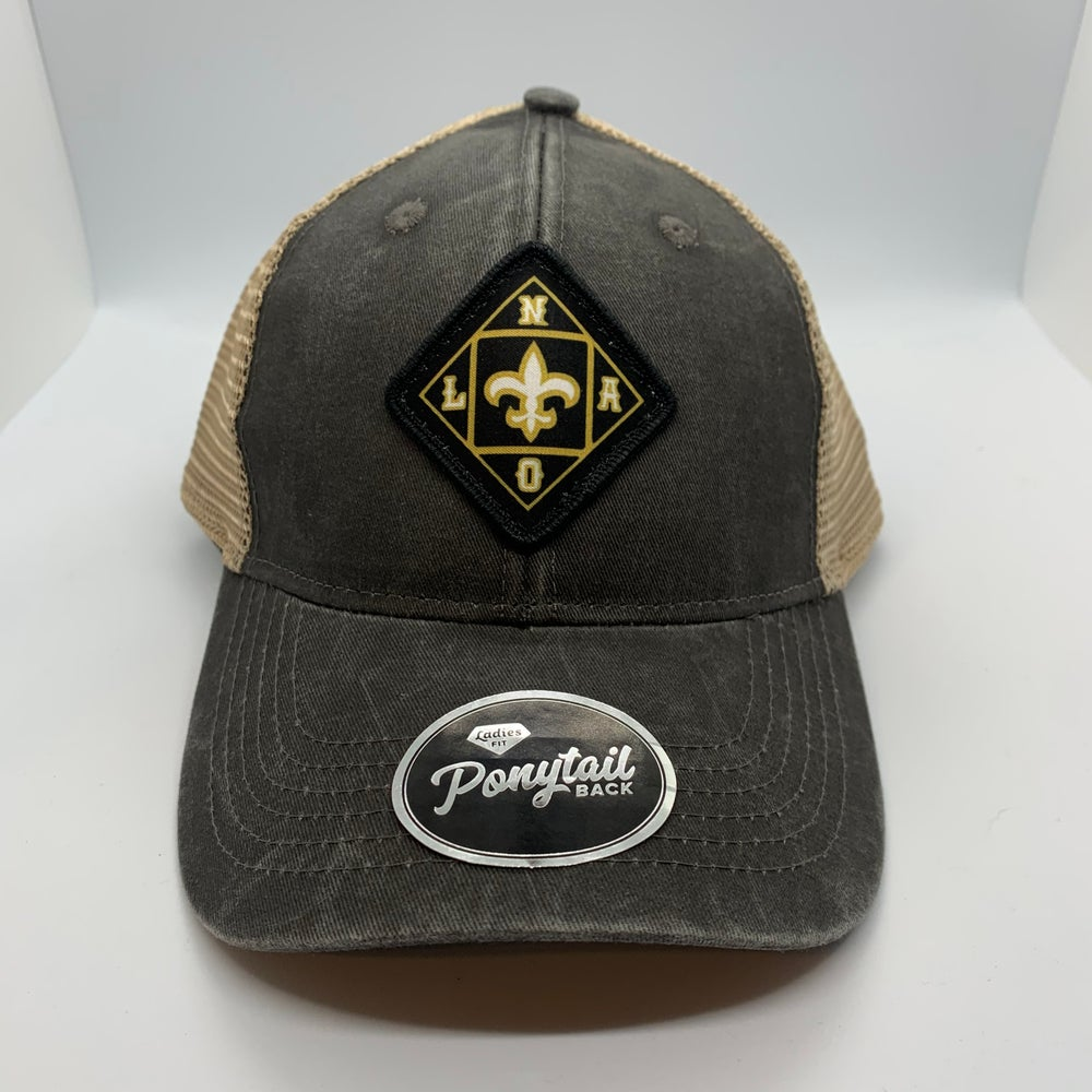 New Orleans Saints Low Profile Structured Ponytail Hat Black/Tan