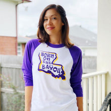 Load image into Gallery viewer, LSU Born on the Bayou 3/4 Sleeve White and Purple Raglan Unisex Shirt